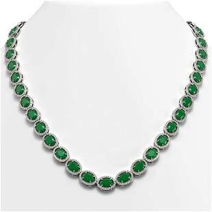 52.15 ctw Emerald & Diamond Micro Pave Halo Necklace