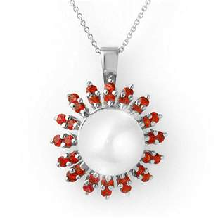 1.50 ctw Red Sapphire & Pearl Necklace 18k White Gold -