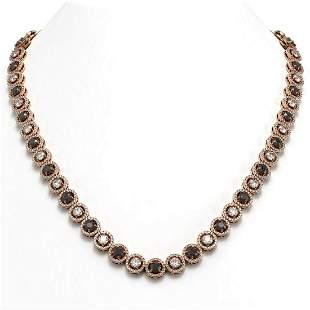 23.95 ctw Black & Diamond Micro Pave Necklace 18K Rose