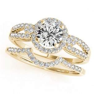 0.86 ctw Certified VS/SI Diamond 2pc Wedding Set Halo
