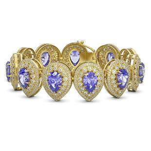50.04 ctw Tanzanite & Diamond Victorian Bracelet 14K