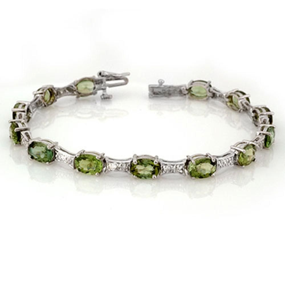 12.04 ctw Green Tourmaline & Diamond Bracelet 10k White