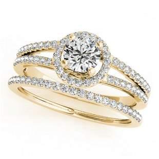 1.1 ctw Certified VS/SI Diamond 2pc Wedding Set Halo