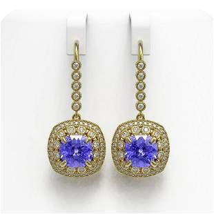 13.4 ctw Tanzanite & Diamond Victorian Earrings 14K