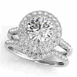 1.52 ctw Certified VS/SI Diamond 2pc Wedding Set Halo