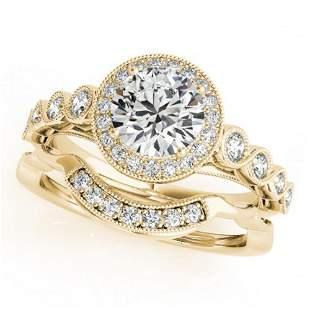 1.6 ctw Certified VS/SI Diamond 2pc Wedding Set Halo