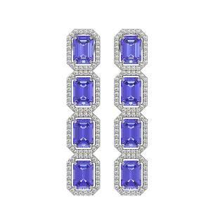 11.93 ctw Tanzanite & Diamond Micro Pave Halo Earrings