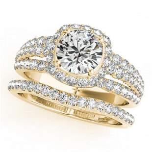 2.44 ctw Certified VS/SI Diamond 2pc Wedding Set Halo