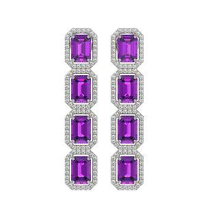 10.73 ctw Amethyst & Diamond Micro Pave Halo Earrings