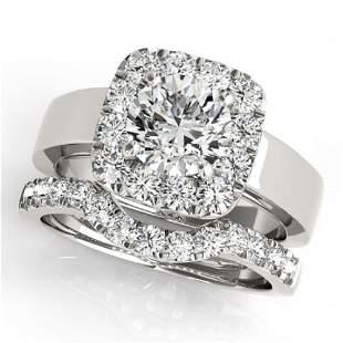 1.8 ctw Certified VS/SI Diamond 2pc Wedding Set Halo