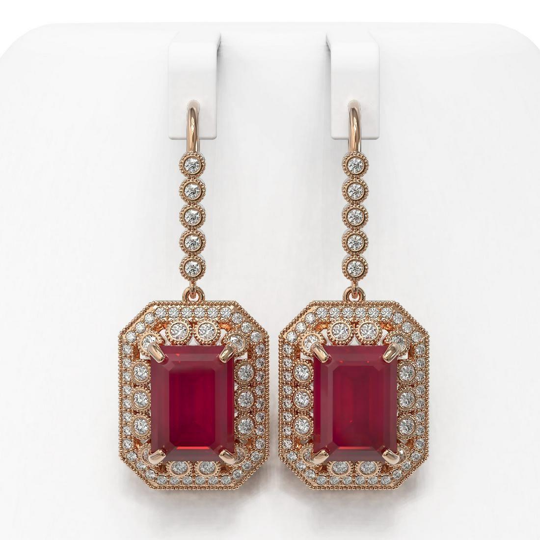 23.79 ctw Certified Ruby & Diamond Victorian Earrings