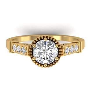 1.22 ctw Certified VS/SI Diamond Art Deco Ring 14k