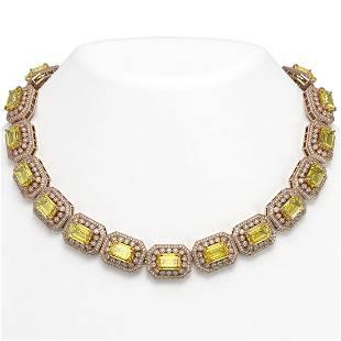 10.45 ctw Canary Citrine & Diamond Victorian Necklace