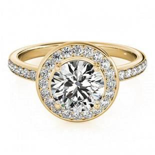 1.08 ctw Certified VS/SI Diamond Halo Ring 18k Yellow