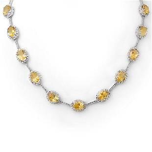 37.0 ctw Citrine & Diamond Necklace 10k White Gold -