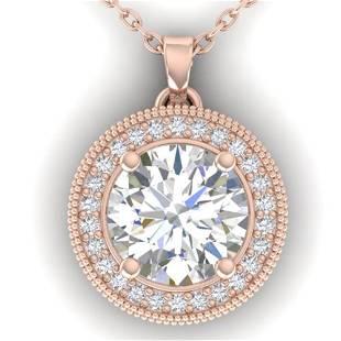 2 ctw VS/SI Diamond Art Deco Micro Halo Necklace 14k
