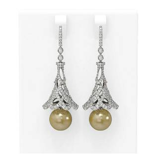 4.33 ctw Diamond & Pearl Earrings 18K White Gold -