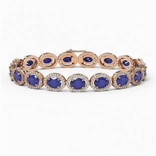 22.89 ctw Sapphire & Diamond Micro Pave Halo Bracelet