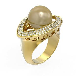 1 ctw Diamond & Pearl Ring 18K Yellow Gold - REF-169G3W