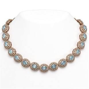 90.5 ctw Aquamarine & Diamond Victorian Necklace 14K