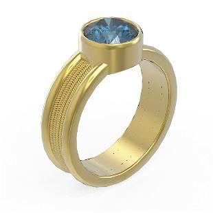 1.5 ctw Intense Blue Diamond Ring 18K Yellow Gold -
