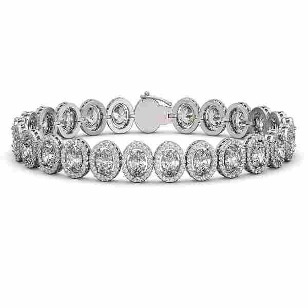 18.8 ctw Oval Cut Diamond Micro Pave Bracelet 18K White