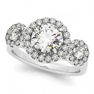 1.75 ctw Certified VS/SI Diamond Halo Ring 18k White