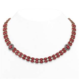 59.69 ctw Tourmaline & Diamond Necklace 14K Rose Gold -