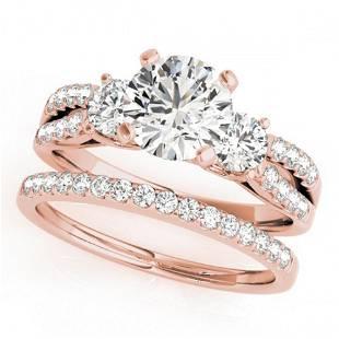 1.96 ctw VS/SI Diamond 3 Stone 2pc Wedding Set 14k Rose
