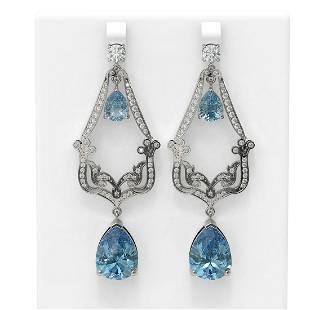 28.2 ctw Blue Topaz & Diamond Earrings 18K White Gold -