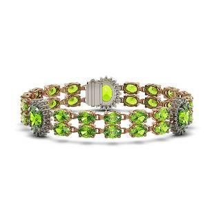 29.69 ctw Peridot & Diamond Bracelet 14K Rose Gold -
