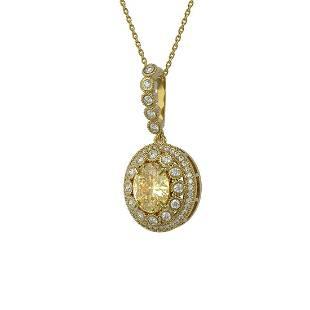 3.87 ctw Canary Citrine & Diamond Victorian Necklace