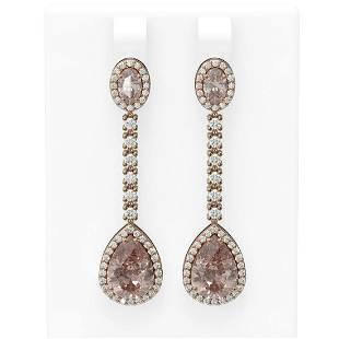 8.51 ctw Morganite & Diamond Earrings 18K Rose Gold -