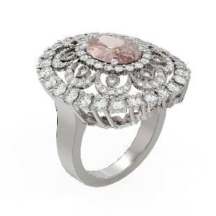 5.76 ctw Morganite & Diamond Ring 18K White Gold -