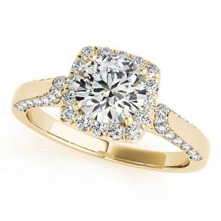 1.5 ctw Certified VS/SI Diamond Halo Ring 18k Yellow
