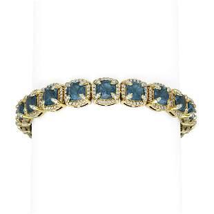 41.37 ctw London Topaz & Diamond Bracelet 18K Yellow