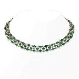 43.07 ctw Emerald & Diamond Necklace 10K Rose Gold -