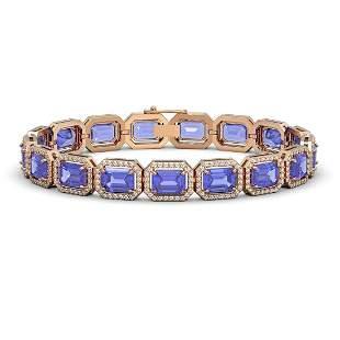 25.36 ctw Tanzanite & Diamond Micro Pave Halo Bracelet