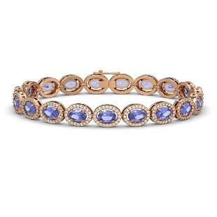 14.25 ctw Tanzanite & Diamond Micro Pave Halo Bracelet