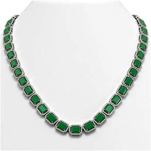 58.59 ctw Emerald & Diamond Micro Pave Halo Necklace