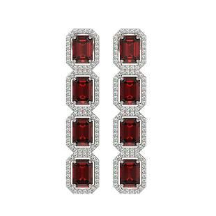 12.73 ctw Garnet & Diamond Micro Pave Halo Earrings 10k