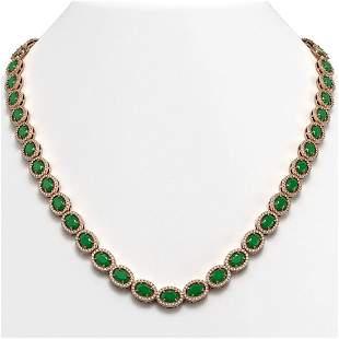 34.11 ctw Emerald & Diamond Micro Pave Halo Necklace