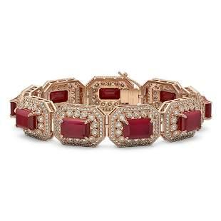 61.92 ctw Certified Ruby & Diamond Victorian Bracelet