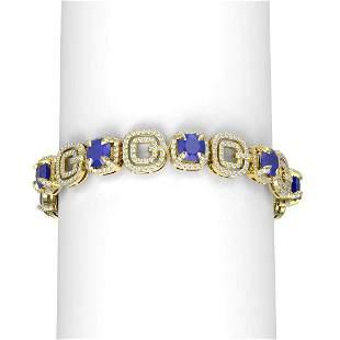 26.1 ctw Sapphire & Diamond Bracelet 18K Yellow Gold -