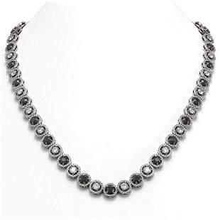 23.95 ctw Black & Diamond Micro Pave Necklace 18K White