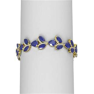 40.92 ctw Sapphire & Diamond Bracelet 18K Yellow Gold -
