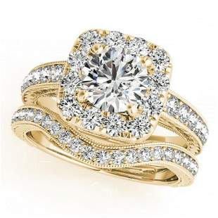 1.55 ctw Certified VS/SI Diamond 2pc Wedding Set Halo