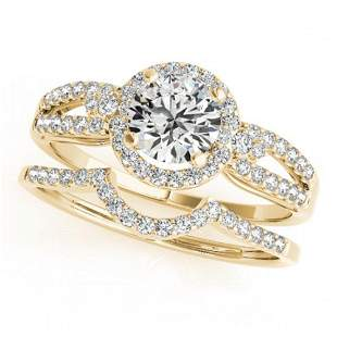 1.11 ctw Certified VS/SI Diamond 2pc Wedding Set Halo