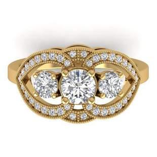1.5 ctw Certified VS/SI Diamond Art Deco 3 Stone Ring