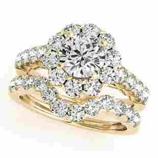 3.36 ctw Certified VS/SI Diamond 2pc Wedding Set Halo
